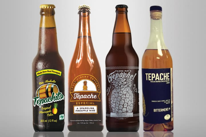 4 different types of bottled tepache made with pineapple