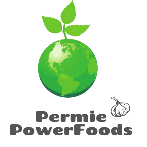 Permie Power Foods logo with green earth sprouting